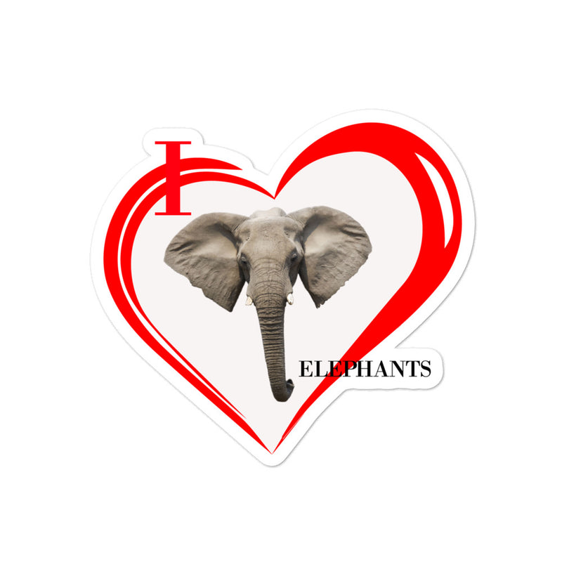 I Love Elephants Bubble-free stickers - Decal Sticker World