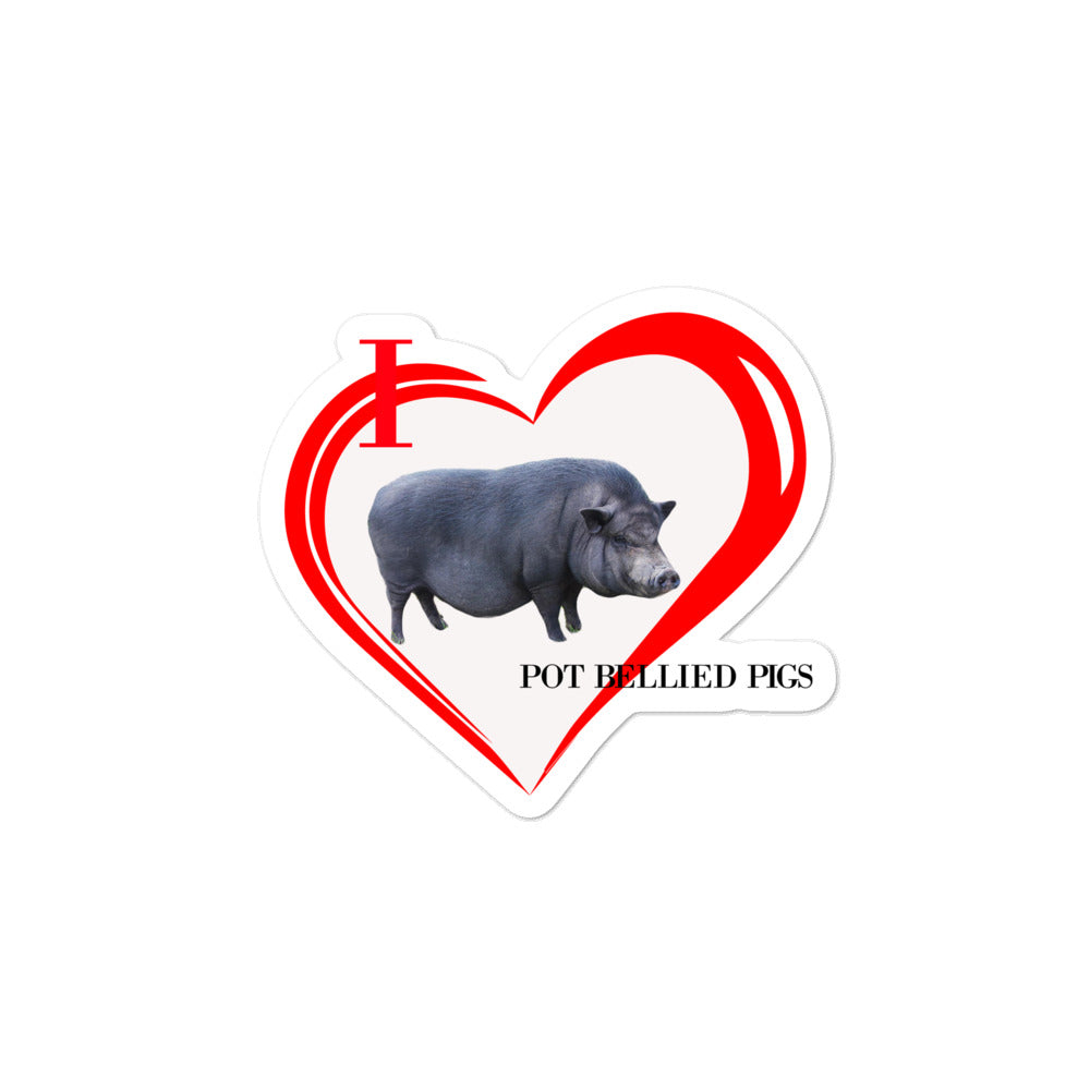 I Love Pot Bellied Pigs Bubble-free stickers