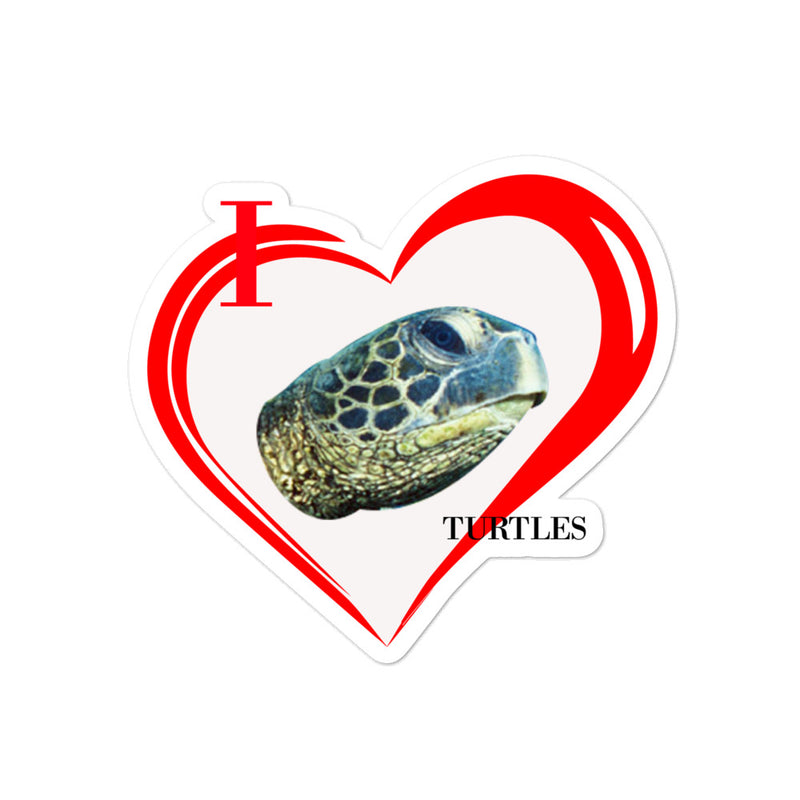 I Love Turtles Bubble-free stickers - Decal Sticker World