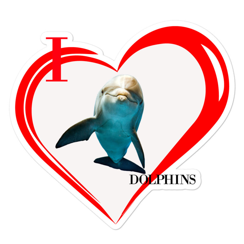 I Love Dolphins Bubble-free stickers - Decal Sticker World