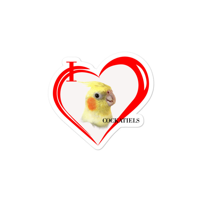 I Love Cockatiels Bubble-free stickers - Decal Sticker World