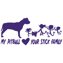 Load image into Gallery viewer, My Pitbull Loves Your Stick Family Vinyl Decal Pit Bull Love - FN Decals