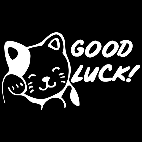 Good Luck Cat Custom Car Window Vinyl Decal Sticker - FN Decals