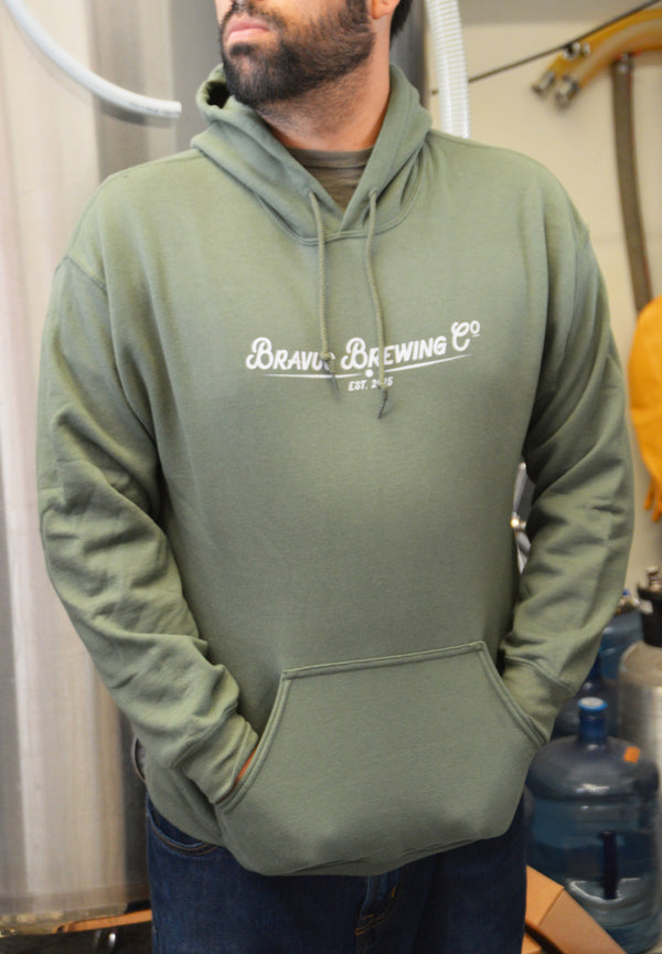 Bravus Hooded Sweatshirt (Military Green) - Bravus Brewing Company