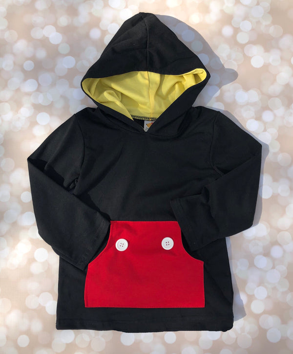 Happy Pocket Tee with Hood