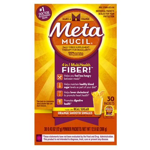 Metamucil Smooth Fiber Powder Packets, Orange, 30 ea