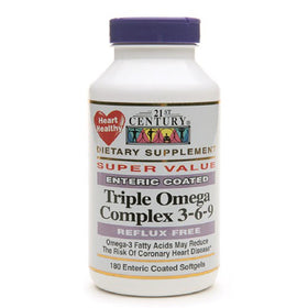 21st Century Enteric Coated Triple Omega Complex 3-6-9, Softgels, 180 ea | OTC Shoppe Express