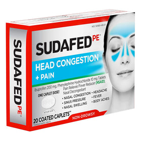 SUDAFED PE Head Congestion + Pain, Coated Caplets, 20 ea | OTC Shoppe Express