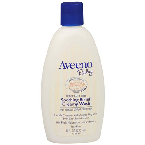 Aveeno Baby Soothing Relief Creamy Wash, Fragrance Free, 8 oz | OTC Shoppe Express