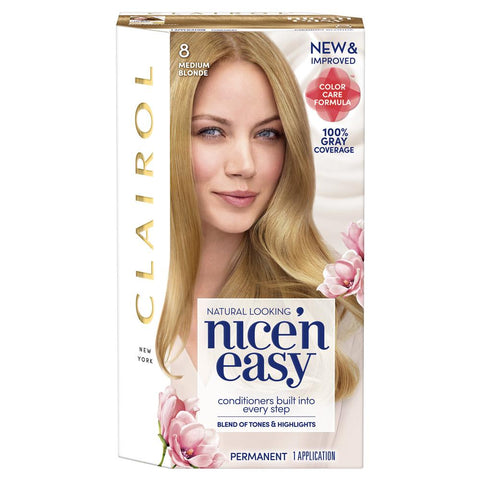 Clairol Nice' n Easy Permanent Hair Color, #8 Medium Blonde, 1 kit | OTC Shoppe Express