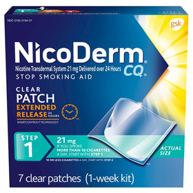 Nicoderm CQ Smoking Cessation Aid, Step 1, 21 mg, Clear, 7 ea | OTC Shoppe Express