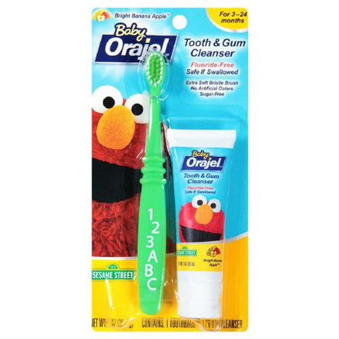 Orajel Baby Tooth & Gum Cleanser, Bright Banana Apple, 1 set | OTC Shoppe Express