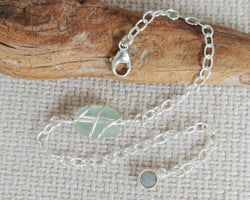 Light Sea Foam Sea Glass And Sterling Silver Bracelet With Labradorite