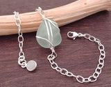 Light Sea Foam Sea Glass And Sterling Silver Bracelet With Moonstone
