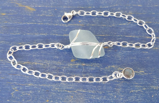Light Aqua Sea Glass And Sterling Silver Bracelet With Labradorite