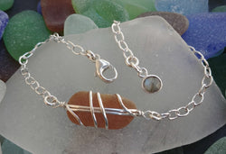 Honey Brown Sea Glass And Sterling Silver Bracelet With Labradorite