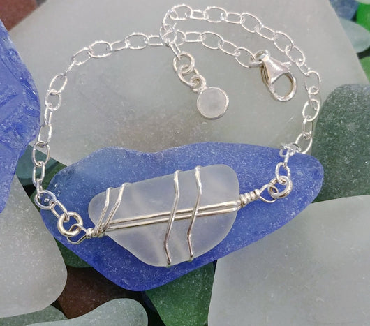 White Sea Glass And Sterling Silver Bracelet With Moonstone