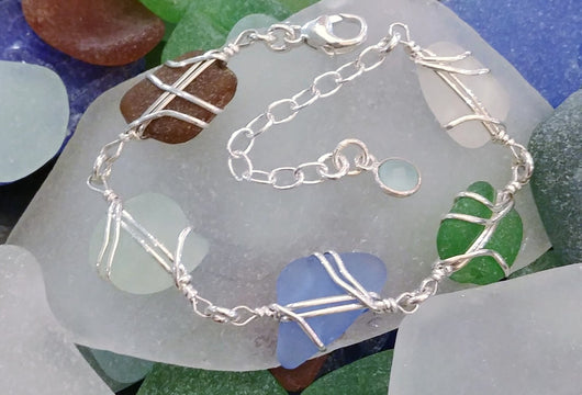 Sea Glass And Sterling Silver Five Small Links Multi Color Bracelet