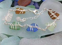 Sea Glass And Sterling Silver Six Small Links Multi Color Bracelet