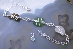 Sea Glass & Sterling Silver 3 Piece Bracelet - Choose Color Combo!