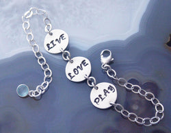CUSTOM 3 Words Bracelet - PICK YOUR WORDS! Up to 4 Letters on Each Charm
