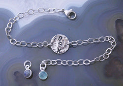 CUSTOM 1 Word Hammered Bracelet, Up to 3 Letters - Sterling Silver - PICK YOUR WORD!
