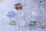 CUSTOM  1 Word Bracelet - Up to 3 Letters - Sea Glass & Sterling Silver - Choose Glass Color!