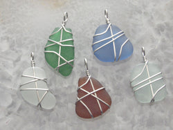 Sea Glass & Sterling Silver Small/Medium Size Pendant