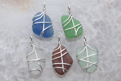 Sea Glass & Sterling Silver Small Size Pendant