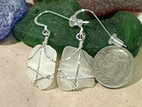 White Sea Glass And Sterling Silver Earrings - Medium Size