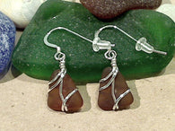 Brown Sea Glass And Sterling Silver Earrings - Small Size