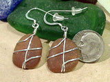 Brown Sea Glass And Sterling Silver Earrings - Medium Size