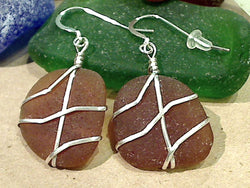Brown Sea Glass And Sterling Silver Earrings - Large Size
