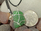 Green Sea Glass and Sterling Silver Pendant With Black Cord - Medium Size