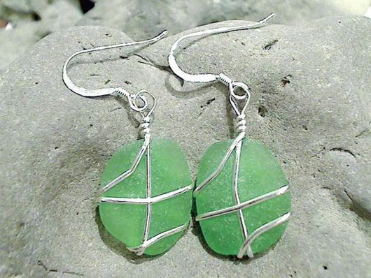 Green Sea Glass And Sterling Silver Earrings - Medium Size