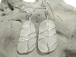 White Sea Glass And Sterling Silver Earrings - Large Size