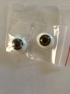 Oval Flat Back Glass Eyes brown 20 & 22mm