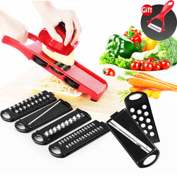 8 in 1 Plastic Vegetable Fruit Slicer, Grater & Cutter with Adjustable Stainless Steel Blades