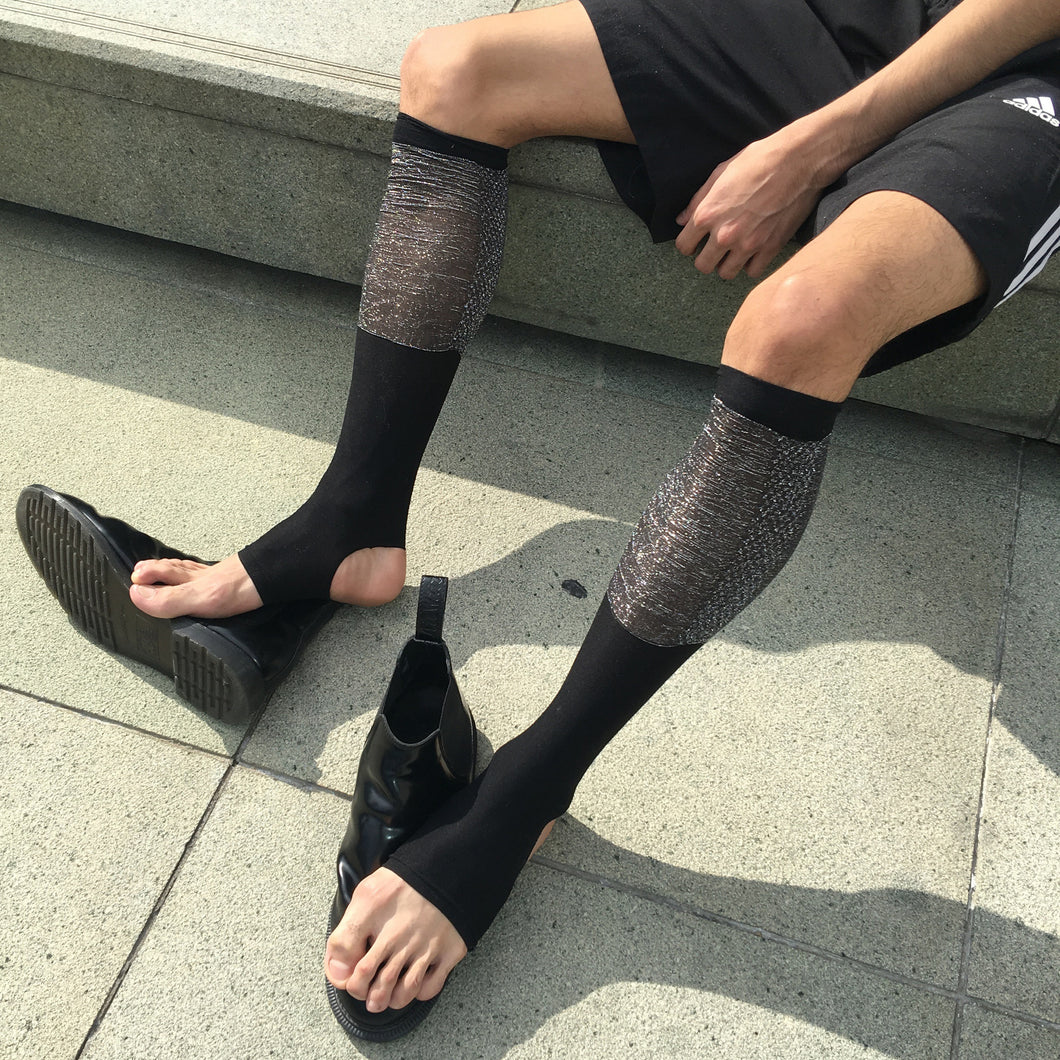 'Warrior' Cutout Socks - Black/Silver