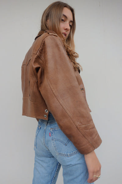 VINTAGE LEATHER BIKER JACKET - MIISHKA Vintage Clothing