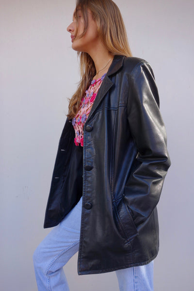 VINTAGE LEATHER BLAZER - MIISHKA Vintage Clothing