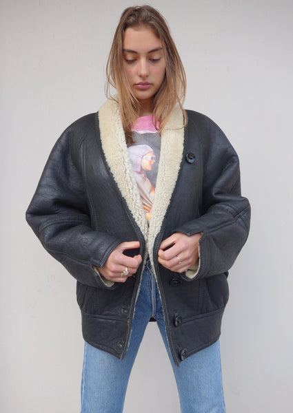 VINTAGE LEATHER SHEEPSKIN COAT