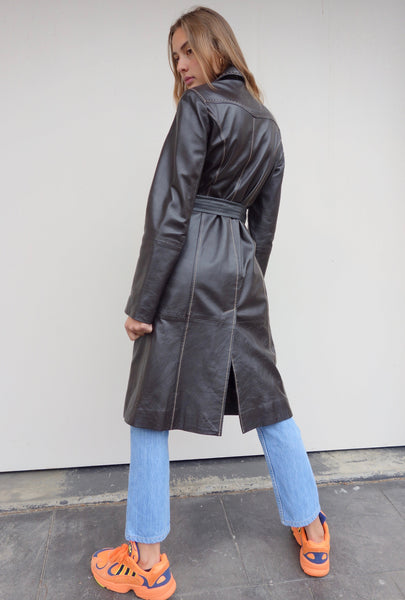 VINTAGE LEATHER TRENCH COAT - MIISHKA Vintage Clothing