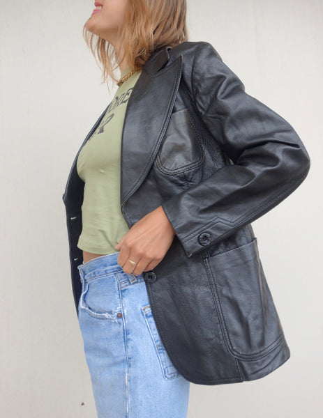 VINTAGE LEATHER BLAZER