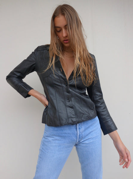 VINTAGE LEATHER SHIRT - MIISHKA Vintage Clothing