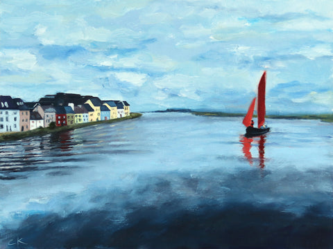 Sailboat on the River Corrib 9x12