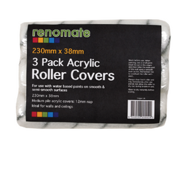 3pk Polyester Roller Covers 230mm x 38mm