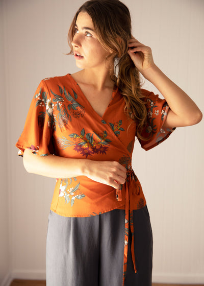 Wilder Wrap Blouse Native Floral