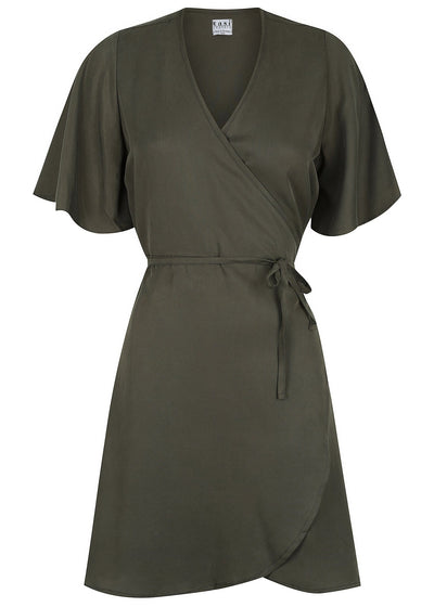 Wilder Wrap Dress Moss