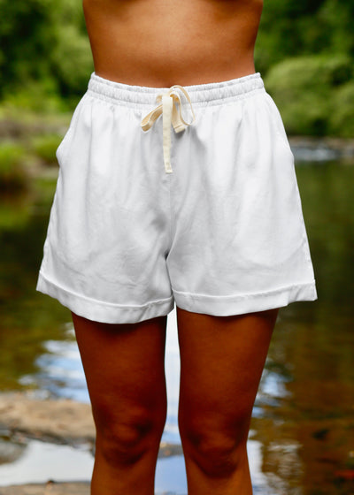 Somewhere Drawstring Short White